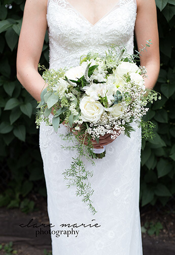 A romantic, elegant, cascading Bridal Bouquet. Flowers are agreed upon at consultation.